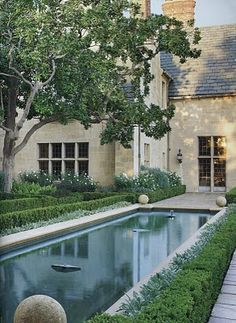 Veranda magazine, classic, elegant pool landscape design. lower cost roof? still retains rustic.