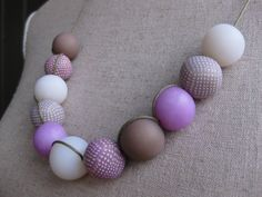 Clay necklace: purple and lila, 3 way stoned necklace. $22,00, via Etsy.