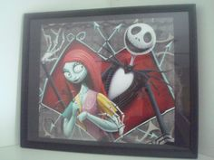 nightmare before christmas framed picture.