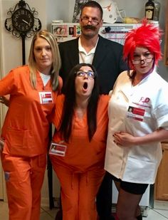 Our surprise group Halloween costumes at my annual Halloween Party! Orange is the new Black themed! Piper (KT), Alex (Me), Red (Krista), and Joe Caputo. Best costume winners for sure. #oitnb