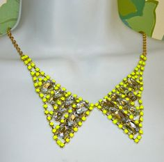 Painted rhinestone collar necklace Neon