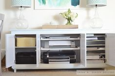 Best thing about this credenza is the way it hides all of the typical office clutter. Printers and scanners on sliding shelves pull out only when you need them. Flat storage for various paper stock and bins for extra cartridges and office supplies. Kitchen Storage Solutions, Diy Kitchen Storage, Craft Storage, Office Supply Organization, Office Storage, Organisation Ideas, Small Storage, Storage Spaces, Space Crafts