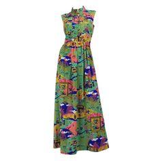 VINTAGE-70s-Asian-Pagoda-Print-MAXI-DRESS-Mandarin-BOHO-Hippie-VIGNETTE-Sz-M-L