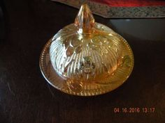 "Jeannette Iris & Herringbone Round, Covered Butter Dish, 5¼"" w x 4¼"" high. $20.00 at tradingtony48 on ebay, 5/28/16"