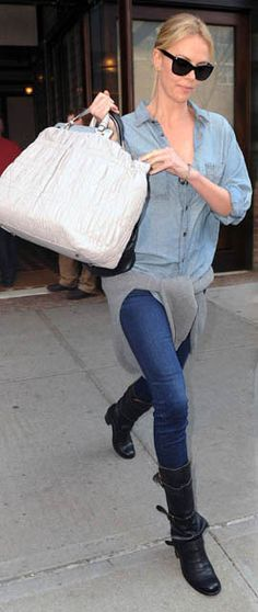 Charlize Theron in the rag & bone Trail Shirt. #jean the only jean-on jean I think I could handle.
