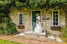 Bride and Groom in the Secret Garden at The Kingswood Hotel one of the top wedding venues in Fife Scotland