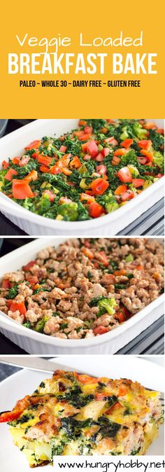 Sick of salad? This egg bake is LOADED with veggies and roasted potatoes for a healthy breakfast, or lunch. Perfect to feed a crowd on a holiday morning or any time!