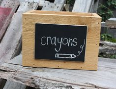 Wood Crate with Chalkboard Label  Storage by BeneathTheBarkAt825, $24.00