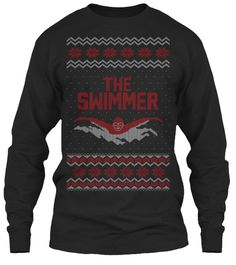 The Swimmer Black Long Sleeve T-Shirt Front