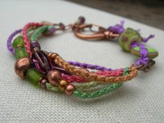 Rustic Lime and Amethyst Copper Boho Beadwork by BlueQuailDesign
