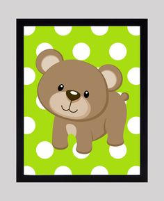Instant Download a Bear on Lime Green Dots Print by FABBprints