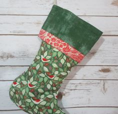Green Christmas Stocking  Personalized Stocking by bungalowquilts