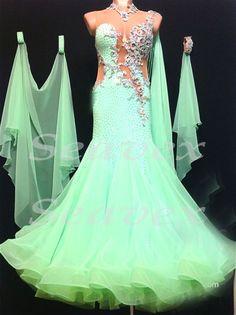 женщин бальные гладкий вальс гладкий танец платье нам 10 UK 12 плоть зеленый кружевной