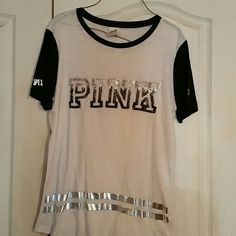 PINK shirt Black and white sequined to by PINK. Has a couple of tiny spots not noticeable from far away. Other than that great. No sequins are missing either. PINK Victoria's Secret Tops Tees - Short Sleeve
