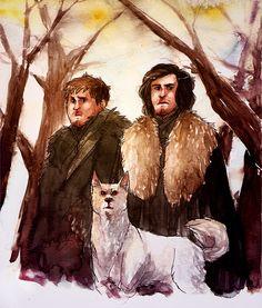 jon and sam and ghost by *tattiOsala