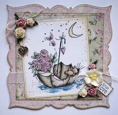 Romantic floral card featuring cute mice in an umbrella