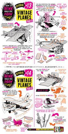 http://studioblinktwice.deviantart.com/art/How-to-draw-PLANES-FLYING-MACHINES-tutorial-663719980