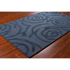 "Mandara Hand-Tufted Contemporary Geometric Blue Wool Rug (5' x 7'6"")"