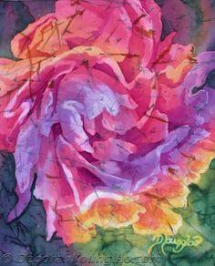 Peony in Joy 3 | 8 x 10, batik on silk | Deborah Younglao