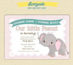 Little Peanut / Elephant 1st Birthday Party by sunnysideprintparty, $15.00