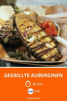 The Grilled Eggplant recipe out of our category fruit-vegetable! EatSmarter has over healthy & delicious recipes online. Grill Party, Bbq Grill, Grilling, Grilled Eggplant, Eggplant Recipes, Barbecue Recipes, Eat Smarter, Vegan Vegetarian, Clean Eating
