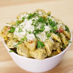 One-Pan Garlic Chicken Pesto Pasta Recipe by Tasty