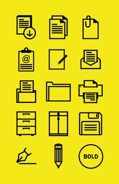 Office outline icon set by Graficheria, via Behance