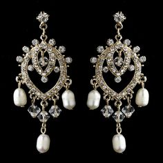 """Lovely classic inspired gold plated chandelier earrings. They feature clear rhinestones and fresh water pearls, that dangle beautifully. These earrings are absolutely radiant and make the perfect accessory to your classic or modern inspired wedding.Size: 2.25"""" (Length) 1"""" (Width)"""