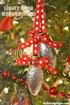 DIY Christmas ornaments. Use old light bulbs...add glue, glitter, and ribbon!