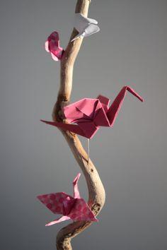 Origami mobile decor decoration crane beach by LaureDaintyArt
