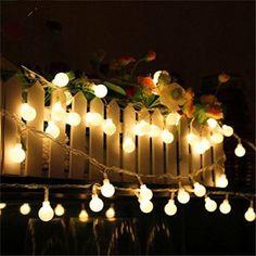 DulceCasa 10 M 100 LED Guirlande Lumières Boule Givrée Lampe Chaîne Décoration de Fête Noël Sapin Rideau Lumineux Lumière Parti Décor à la…