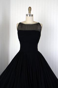 1950's Black Silk Chiffon Designer Princess Cocktail Dress