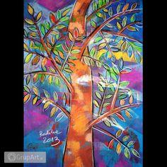 Drzewo - rysunek pastelami suchymi Rysunek wykonany pastelami suchymi, akrylami, węglem i ołówkiem na brystolu 70x100 cm, zabezpieczony fiksatywą, nieoprawiony. Ciut srebrnej kredki. Jedyny egzemplarz - zapraszam :) Na życzenie tworzę symulację kolorystyczną passe partout pasującego do rysunku. www.grupart.pl