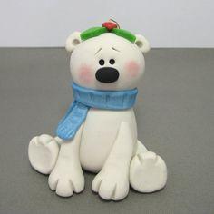 Winter Polar Bear polymer clay ornament on Etsy, $12.00