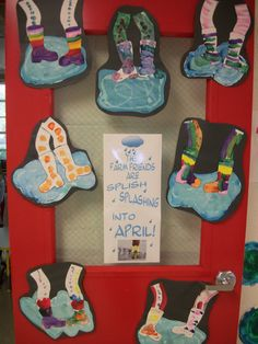Children painted rain puddles and their rain boots and legs... so cute!  We added glitter to the rain puddles