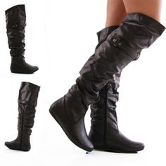 Women Over The Knee Faux Leather Flat Slouch Rider Boots Shoes Size 5-10
