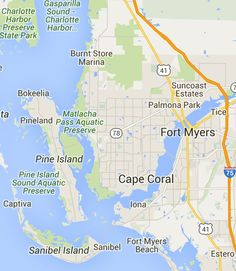Florida Backroads Travel map of route from Cape Coral to Pine Island ...