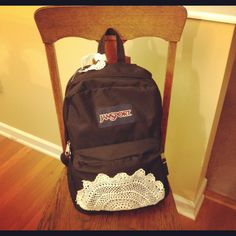 Decorated my black jansport backpack / book bag  with a doily!  Fun makeover for a boring bag!