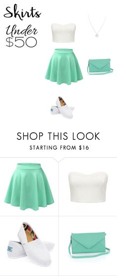 """""""Skirt under $50"""" by erikasuazo ❤ liked on Polyvore featuring LE3NO, Forever New, TOMS, Wolf & Moon, under50 and skirtunder50"""