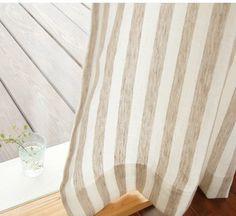 リネンカーテン。ナチュラルなストライプ。 Decor, Curtains, Interior, Blinds, House, Linen, Linen Fabric, Home Decor, My Room