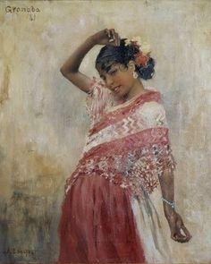"Albert Edelfel  pintor finlandés 1854-1905 Tanssiva (Gitana I ) ""Gitana bailando"" Granada 1881- óleo"
