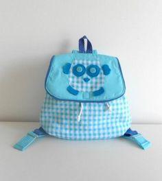 mochila niños mod. búho  algodón 100%,velcro artesanal