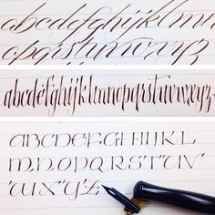 Pointed pen variations: steep angle (45 deg) slant, Blackletter, and Uncial.