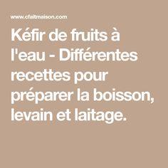 Kéfir de fruits à l'eau - Différentes recettes pour préparer la boisson, levain et laitage.
