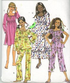Uncut Pattern Factory Folded Butterick 4913 2006 Size: 12, 14, 16 Girls' Top, Pants and Gown: Top and gown have raised waistline, sleeve variations, casing, elastic neckline and waistline, machine stitched narrow hems. A, D: ribbon trim. D: ruffle hem. Pants in two lengths have casing and elastic waist, machine stitched narrow hem. This pattern is UNCUT with factory folds and instructions. Thank you for looking and Happy Shopping!!!!! If you have a problem with any pattern please contact me…
