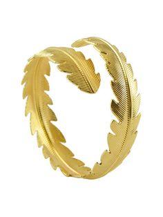 Dahlia Gold Feather Bangle   Dahlia