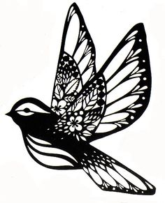 flying owl paper cutting patterns - Google Search