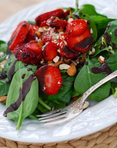 Strawberry Spinach Salad w/ Chocolate Vinaigrette -- Plate in following order on 2 salad plates:  4C fresh baby spinach; 2/3C fresh strawberry slices; 1/4C chopped almonds (toasted, if like); drizzle of choice vinaigrette  FOLLOWS next pin -- #Salads - #Do Now