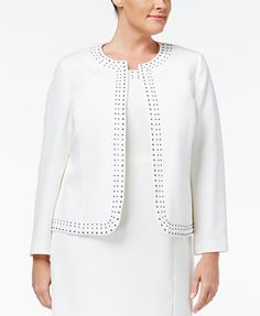Kasper Plus Size Studded Collarless Jacket | macys.com