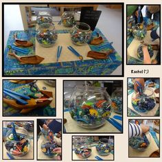 """Oceans, seas and beaches – activities linked with holiday memories in the Early Years classroom … from Rachel ("""",) - World of Animals Rainbow Fish Eyfs, Rainbow Fish Activities, Beach Activities, Motor Activities, Classroom Activities, Eyfs Classroom, The Rainbow Fish, Classroom Ideas, Ocean Projects"""